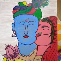 radha krishna, 12 x 16 inch, jyoti rajpal,12x16inch,wood board,paintings,radha krishna paintings,wood,GAL02022432576