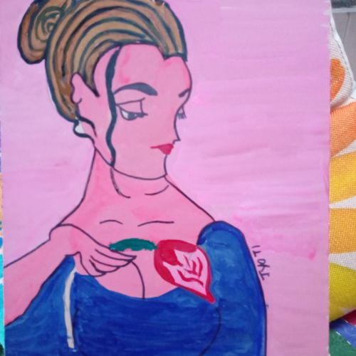 a lady with flower, 12 x 16 inch, jyoti rajpal,12x16inch,wood board,paintings,figurative paintings,wood,GAL02022432577