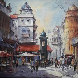city scape-3, 15 x 15 inch, shubhashis mandal,15x15inch,handmade paper,paintings,cityscape paintings,paintings for dining room,paintings for living room,paintings for bedroom,paintings for hotel,watercolor,GAL02057432579
