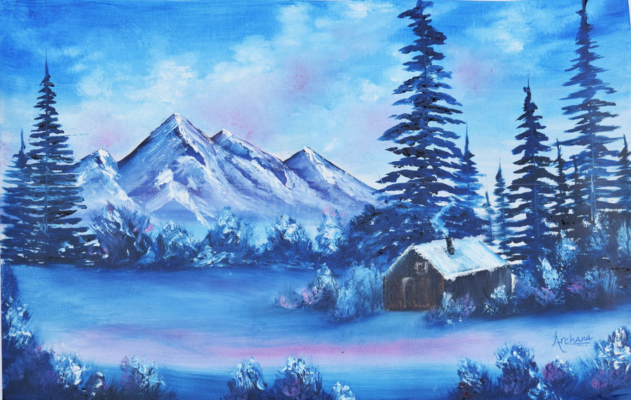 winter tales, 14 x 11 inch, archana singh,landscape paintings,paintings for living room,thick paper,oil,14x11inch,GAL011723258