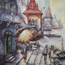 benaras ghat-4, 15 x 22 inch, shubhashis mandal,15x22inch,handmade paper,paintings,religious paintings,paintings for dining room,paintings for living room,paintings for bedroom,paintings for office,paintings for hotel,watercolor,GAL02057432583