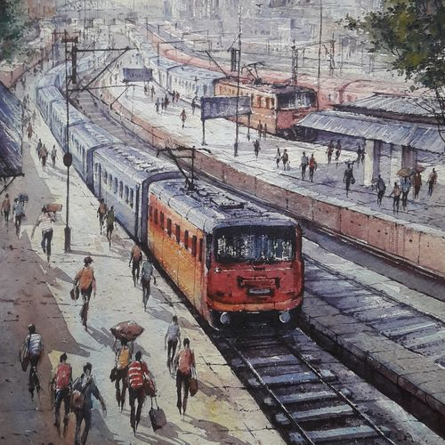 railway station-1, 15 x 22 inch, shubhashis mandal,15x22inch,handmade paper,paintings,landscape paintings,paintings for dining room,paintings for living room,paintings for bedroom,paintings for office,paintings for hotel,watercolor,GAL02057432585