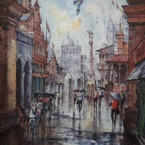 city in italy-1, 15 x 22 inch, shubhashis mandal,15x22inch,handmade paper,paintings,cityscape paintings,paintings for dining room,paintings for living room,paintings for bedroom,paintings for office,paintings for hotel,watercolor,GAL02057432586