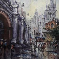 city in italy-2, 15 x 22 inch, shubhashis mandal,15x22inch,handmade paper,paintings,cityscape paintings,paintings for dining room,paintings for living room,paintings for bedroom,paintings for office,paintings for hotel,watercolor,GAL02057432588