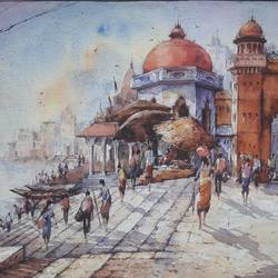benaras ghat-5, 22 x 15 inch, shubhashis mandal,22x15inch,handmade paper,paintings,religious paintings,paintings for dining room,paintings for living room,paintings for bedroom,paintings for office,paintings for hotel,watercolor,GAL02057432589