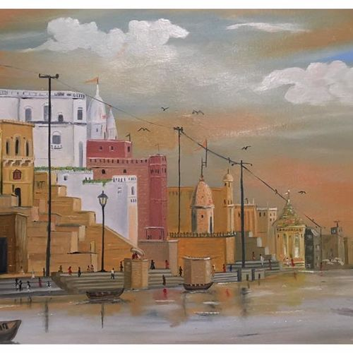 banaras ghat , 36 x 24 inch, subhash gijare,landscape paintings,paintings for living room,canvas,oil paint,36x24inch,GAL01383259