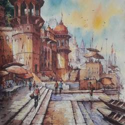 benaras ghat-5, 15 x 22 inch, shubhashis mandal,15x22inch,handmade paper,paintings,religious paintings,paintings for dining room,paintings for living room,paintings for bedroom,paintings for office,paintings for hotel,watercolor,GAL02057432590