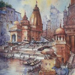 benaras ghat-6, 15 x 22 inch, shubhashis mandal,15x22inch,handmade paper,paintings,religious paintings,paintings for dining room,paintings for living room,paintings for bedroom,paintings for office,paintings for hotel,watercolor,GAL02057432591