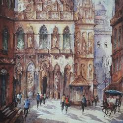 city in italy-4, 15 x 22 inch, shubhashis mandal,15x22inch,handmade paper,paintings,cityscape paintings,paintings for dining room,paintings for living room,paintings for bedroom,paintings for office,paintings for hotel,watercolor,GAL02057432593