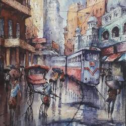 tram in kolkata-3, 15 x 22 inch, shubhashis mandal,15x22inch,handmade paper,paintings,cityscape paintings,paintings for dining room,paintings for living room,paintings for bedroom,paintings for office,paintings for hotel,watercolor,GAL02057432594