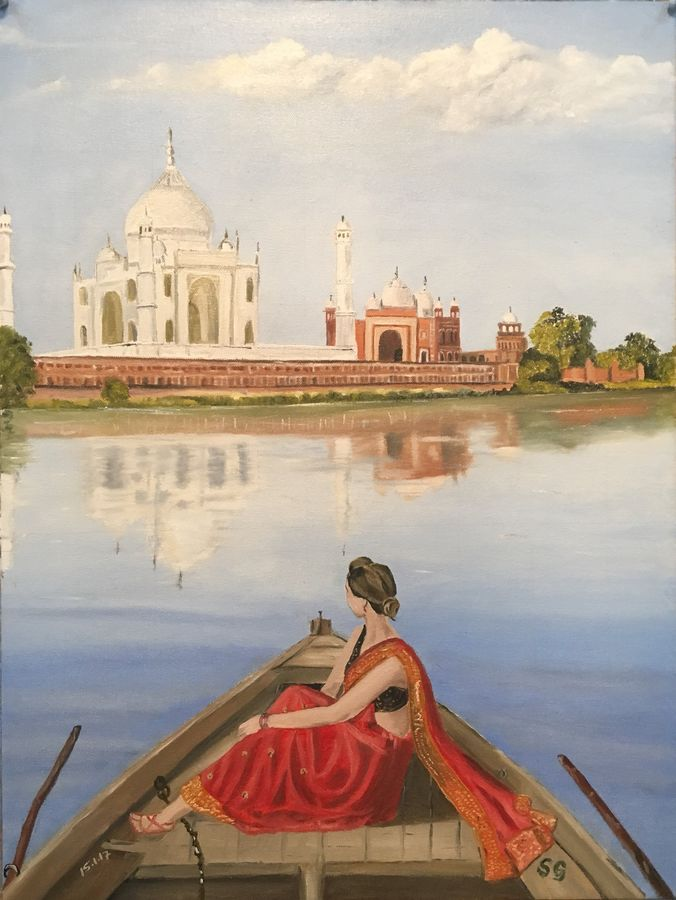 taj mahal , 18 x 24 inch, subhash gijare,landscape paintings,paintings for living room,canvas,oil,18x24inch,GAL01383260