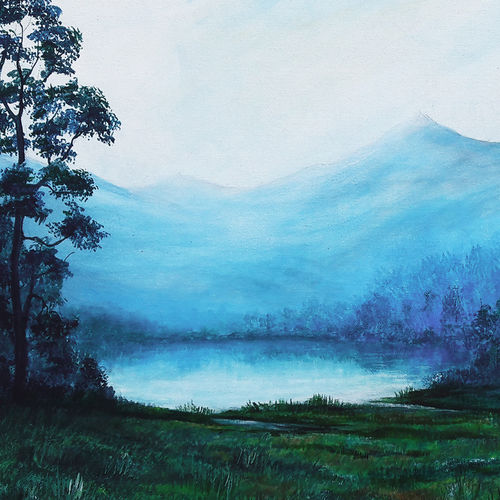 lakeview landscape, 24 x 18 inch, seby augustine,24x18inch,canvas,paintings,landscape paintings,nature paintings | scenery paintings,photorealism paintings,realism paintings,paintings for dining room,paintings for living room,paintings for bedroom,paintings for office,paintings for kids room,paintings for hotel,paintings for school,paintings for hospital,acrylic color,GAL015032605