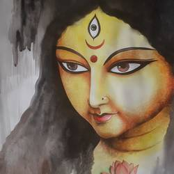 durga 1 , 33 x 47 inch, amit banerjee,33x47inch,cartridge paper,paintings,figurative paintings,paintings for dining room,paintings for living room,paintings for bedroom,paintings for dining room,paintings for living room,paintings for bedroom,watercolor,paper,GAL0848132606