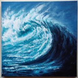 original ocean wave acrylic painting on canvas, 12 x 12 inch, mrinalini shingal,12x12inch,canvas,paintings,abstract paintings,landscape paintings,nature paintings | scenery paintings,impressionist paintings,paintings for dining room,paintings for living room,paintings for office,paintings for hotel,acrylic color,GAL01898332616
