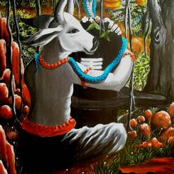 nandi ka shiva, 25 x 35 inch, shiuli majumder,25x35inch,canvas,paintings,abstract paintings,religious paintings,lord shiva paintings,acrylic color,GAL01355232619