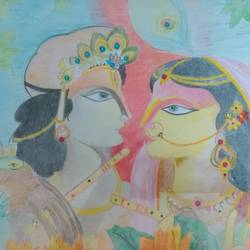 radha krishna, 17 x 12 inch, binita sengupta,17x12inch,paper,paintings,love paintings,paintings for dining room,paintings for bedroom,paintings for hotel,pencil color,GAL02082532620