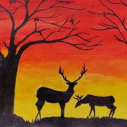 nature_deer, 22 x 16 inch, binita sengupta,22x16inch,canvas,paintings,wildlife paintings,nature paintings | scenery paintings,paintings for dining room,paintings for living room,paintings for hotel,acrylic color,GAL02082532622