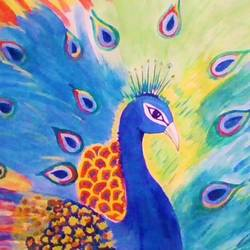 peacock, 24 x 18 inch, binita sengupta,24x18inch,thick paper,paintings,animal paintings,paintings for dining room,paintings for bedroom,paintings for office,paintings for hotel,watercolor,GAL02082532623