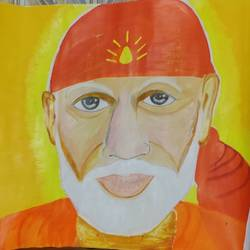 sai baba, 17 x 12 inch, binita sengupta,17x12inch,paper,paintings,religious paintings,paintings for living room,paintings for office,watercolor,GAL02082532624