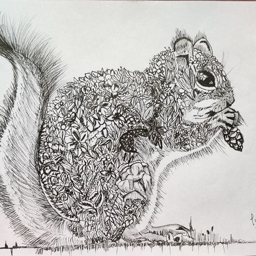 squitzgu the squirrel, 8 x 12 inch, pooja lokesh,8x12inch,drawing paper,paintings for living room,paintings for bedroom,paintings for office,paintings for kids room,paintings for school,fine art drawings,graffiti drawings,illustration drawings,paintings for living room,paintings for bedroom,paintings for office,paintings for kids room,paintings for school,pen color,paper,GAL02084432630