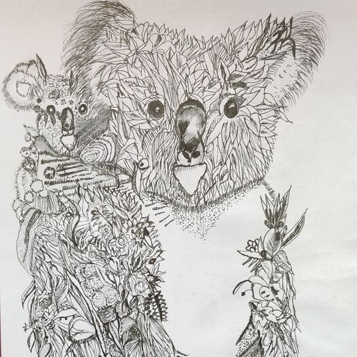 koala, 8 x 12 inch, pooja lokesh,8x12inch,drawing paper,drawings,fine art drawings,graffiti drawings,illustration drawings,impressionist drawings,minimalist drawings,modern drawings,paintings for living room,paintings for bedroom,paintings for office,paintings for kids room,pen color,ball point pen,paper,GAL02084432635