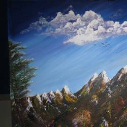 mountains, 30 x 30 inch, priyavrath dakua,30x30inch,canvas,landscape paintings,paintings for dining room,paintings for living room,paintings for bedroom,paintings for office,paintings for dining room,paintings for living room,paintings for bedroom,paintings for office,acrylic color,GAL0955932640