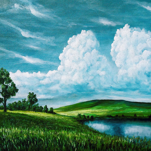 white clouds, 24 x 20 inch, seby augustine,24x20inch,canvas,paintings,landscape paintings,nature paintings | scenery paintings,realism paintings,contemporary paintings,paintings for dining room,paintings for living room,paintings for bedroom,paintings for office,paintings for kids room,paintings for hotel,paintings for school,paintings for hospital,acrylic color,GAL015032657
