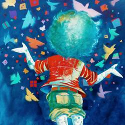 dreams of the childhood, 20 x 30 inch, shiv kumar soni,figurative paintings,paintings for living room,vertical,paintings for school,canvas,acrylic color,20x30inch,GAL0303266