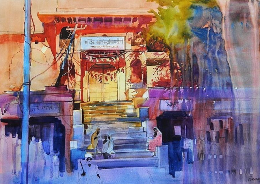 jaipur, 27 x 19 inch, bijay  biswaal,cityscape paintings,paintings for living room,fabriano sheet,watercolor,27x19inch,GAL011743267