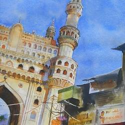 charminar, 22 x 29 inch, bijay  biswaal,cityscape paintings,paintings for living room,arches paper,watercolor,22x29inch,GAL011743268