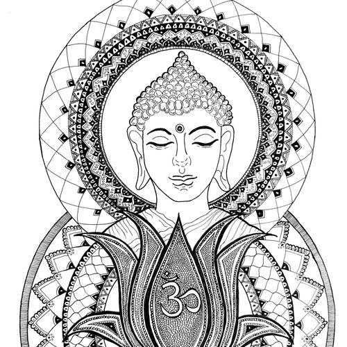 the enlightened one buddha, 10 x 13 inch, tanvi goenka,10x13inch,drawing paper,drawings,buddha drawings,paintings for dining room,paintings for living room,paintings for bedroom,paintings for office,paintings for kitchen,paintings for hospital,ink color,pen color,GAL02064432680
