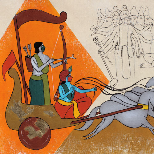 arjuna and krishna, 22 x 22 inch, chetan katigar,22x22inch,canvas,paintings,abstract paintings,figurative paintings,foil paintings,landscape paintings,modern art paintings,multi piece paintings,conceptual paintings,religious paintings,still life paintings,portrait paintings,nature paintings | scenery paintings,abstract expressionism paintings,art deco paintings,dada paintings,expressionism paintings,impressionist paintings,realism paintings,radha krishna paintings,contemporary paintings,realistic paintings,love paintings,paintings for dining room,paintings for living room,paintings for bedroom,paintings for office,paintings for bathroom,paintings for kids room,paintings for hotel,paintings for kitchen,acrylic color,GAL026632681