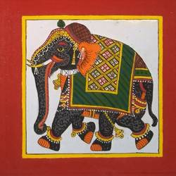 royal elephant phad painting, 9 x 9 inch, abhishek joshi,9x9inch,cloth,paintings,elephant paintings,phad painting,paintings for living room,paintings for bedroom,paintings for office,paintings for hotel,natural color,GAL01642532690