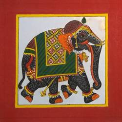 royal elephant phad painting, 9 x 9 inch, abhishek joshi,9x9inch,cloth,paintings,elephant paintings,phad painting,paintings for dining room,paintings for living room,paintings for bedroom,paintings for office,paintings for hotel,paintings for dining room,paintings for living room,paintings for bedroom,paintings for office,paintings for hotel,natural color,GAL01642532691
