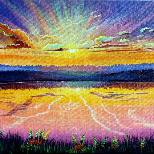sunrise painting, 12 x 10 inch, lipsha sahoo,12x10inch,canvas,landscape paintings,nature paintings | scenery paintings,paintings for dining room,paintings for living room,paintings for bedroom,paintings for office,paintings for kids room,paintings for hotel,paintings for dining room,paintings for living room,paintings for bedroom,paintings for office,paintings for kids room,paintings for hotel,acrylic color,GAL01763532702