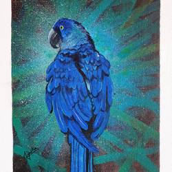 blue macaws, 12 x 16 inch, lipsha sahoo,12x16inch,canvas board,paintings,wildlife paintings,paintings for dining room,paintings for living room,paintings for bedroom,paintings for office,paintings for kids room,paintings for hotel,paintings for school,acrylic color,GAL01763532704