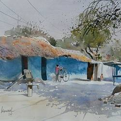 village side, 16 x 11 inch, bijay  biswaal,cityscape paintings,paintings for living room,paper,watercolor,16x11inch,GAL011743271