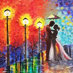 romantic couple, 12 x 16 inch, lipsha sahoo,12x16inch,canvas board,paintings,cityscape paintings,paintings for dining room,paintings for living room,paintings for bedroom,paintings for hotel,acrylic color,GAL01763532719