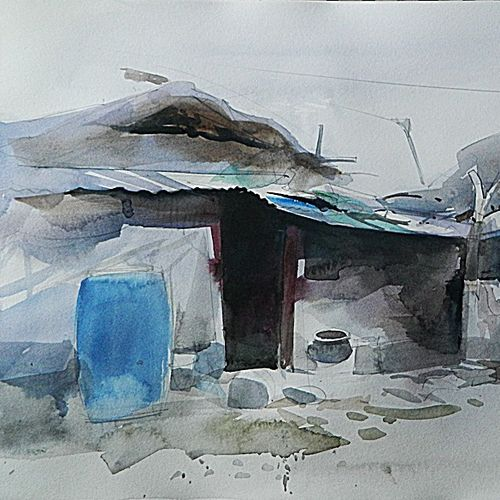 village iii, 16 x 11 inch, bijay  biswaal,cityscape paintings,paintings for living room,paper,watercolor,16x11inch,GAL011743272