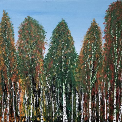 birch tree forest, 16 x 16 inch, gitika singh,16x16inch,canvas,paintings,landscape paintings,nature paintings | scenery paintings,paintings for dining room,paintings for living room,paintings for bedroom,paintings for office,paintings for bathroom,paintings for kids room,paintings for hotel,paintings for school,paintings for hospital,acrylic color,GAL01865432722