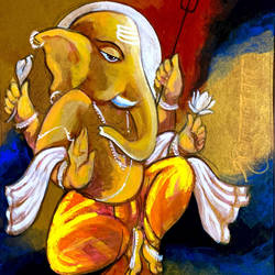 lord ganesha, 8 x 11 inch, ashwinikumar nagarkar,8x11inch,handmade paper,paintings,religious paintings,ganesha paintings | lord ganesh paintings,paintings for dining room,paintings for living room,paintings for bedroom,paintings for office,paintings for kids room,paintings for hotel,paintings for kitchen,paintings for hospital,acrylic color,paper,GAL02087432724