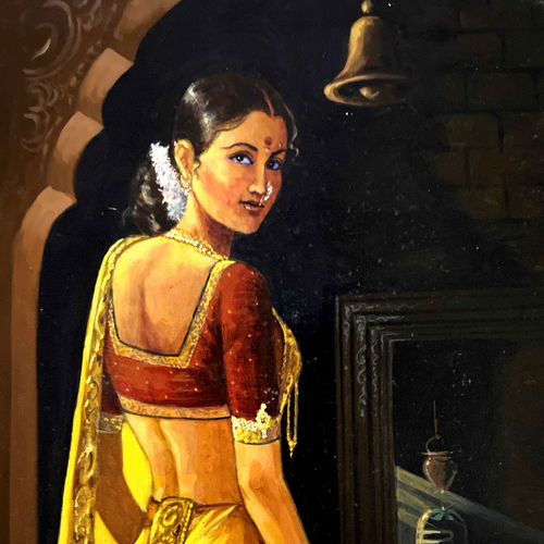 a lady going to temple, 8 x 11 inch, ashwinikumar nagarkar,8x11inch,paper,paintings,figurative paintings,paintings for dining room,paintings for living room,paintings for bedroom,paintings for office,paintings for hotel,acrylic color,paper,GAL02087432725