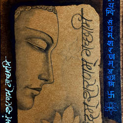lord buddha, 8 x 11 inch, ashwinikumar nagarkar,8x11inch,handmade paper,paintings,buddha paintings,religious paintings,paintings for dining room,paintings for living room,paintings for office,paintings for hotel,paintings for kitchen,paintings for school,paintings for hospital,acrylic color,paper,GAL02087432729