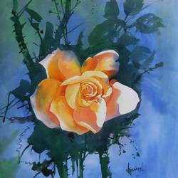 the rose, 16 x 11 inch, bijay  biswaal,flower paintings,paintings for living room,paintings for dining room,paintings for bedroom,paintings for office,paper,watercolor,16x11inch,GAL011743273