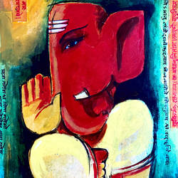 lord ganesha, 7 x 9 inch, ashwinikumar nagarkar,7x9inch,paper,paintings,abstract paintings,abstract expressionism paintings,art deco paintings,ganesha paintings | lord ganesh paintings,paintings for dining room,paintings for living room,paintings for office,paintings for hotel,paintings for kitchen,paintings for school,paintings for hospital,acrylic color,paper,GAL02087432737