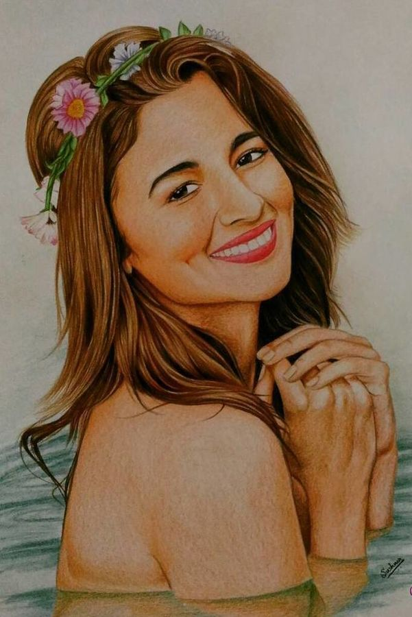 portrait of alia bhatt actress, 12 x 16 inch, sushma shetty,portrait paintings,paintings for living room,thick paper,pencil color,12x16inch,GAL012333274