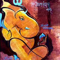 lord ganesha bhalchandray namaha, 8 x 10 inch, ashwinikumar nagarkar,8x10inch,paper,paintings,abstract paintings,religious paintings,abstract expressionism paintings,art deco paintings,ganesha paintings | lord ganesh paintings,paintings for dining room,paintings for living room,paintings for office,paintings for kids room,paintings for hotel,paintings for kitchen,paintings for school,paintings for hospital,paintings for dining room,paintings for living room,paintings for office,paintings for kids room,paintings for hotel,paintings for kitchen,paintings for school,paintings for hospital,acrylic color,paper,GAL02087432740