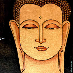 lord buddha, 8 x 11 inch, ashwinikumar nagarkar,8x11inch,handmade paper,paintings,buddha paintings,religious paintings,art deco paintings,paintings for dining room,paintings for hotel,paintings for school,paintings for hospital,acrylic color,paper,GAL02087432746