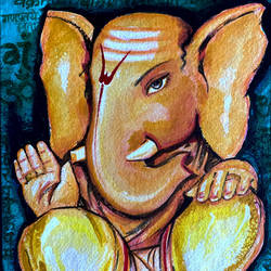 lord ganesha, 8 x 10 inch, ashwinikumar nagarkar,8x10inch,handmade paper,paintings,religious paintings,abstract expressionism paintings,art deco paintings,ganesha paintings | lord ganesh paintings,paintings for dining room,paintings for living room,paintings for office,paintings for hotel,paintings for kitchen,paintings for school,paintings for hospital,acrylic color,paper,GAL02087432747