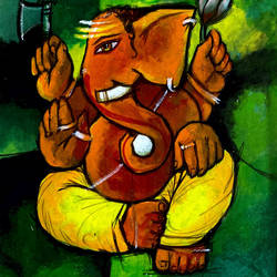 lord ganesha, 8 x 10 inch, ashwinikumar nagarkar,8x10inch,hardboard,paintings,religious paintings,abstract expressionism paintings,art deco paintings,ganesha paintings | lord ganesh paintings,paintings for dining room,paintings for living room,paintings for office,paintings for hotel,paintings for kitchen,paintings for school,paintings for hospital,acrylic color,paper,GAL02087432748